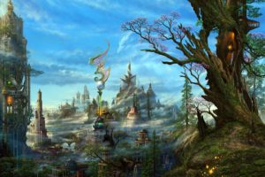 art, Ucchiey, Kazamasa, Uchio, Fantasy, Cg, Digital, Art, Paintings, Airbrushing, Anime, Landscapes, Colors, Detail, Magi, Dragons, Cities, Architecture, Buildings, Sky, Clouds, Trees, Fog, Mist, Haze, Steampunk,