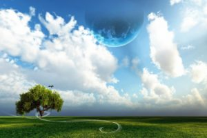 abstract, Clouds, Trees, Planets, Skyscapes