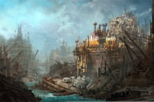 apocalyptic, Post, Cities, Art, Destruction, Ships, Dark, Horror, Sci, Fi, Ruins, Decay