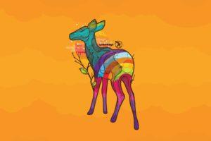 multicolor, Animals, Deer, Digital, Art, Pop, Art, Yellow, Background