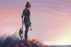 automatic, Red, Art, Girl, Meadow, Flowers, Weapons