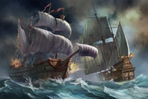 sailboat, Sea, Art, Boats, Storm, Waves, Battle, Battle