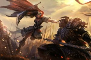 warrior, Girl, Man, Original, Characters, Fantasy, Fantasy, Art