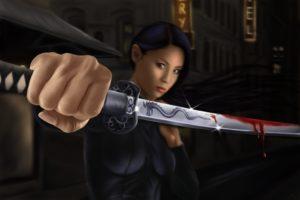 warrior, Asian, Sabre, Blood, Fantasy, Girl, Katana, Sword, Samurai, Oriental