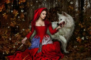 wolf, Girl, Woman, Fantasy, Blood, Animal, Dress, Red, Knife, Forest, Female, Autumn
