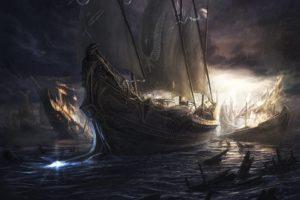sea, Rain, Storm, Ship, Landscape, Fantastic
