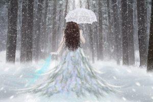 fantasy, Girl, Umbrella, Snow, Forest, White, Dress