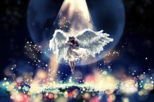 angel, Violin, Magic, Wings, Rays, Of, Light, Fantasy, Girls, Original, Artwork