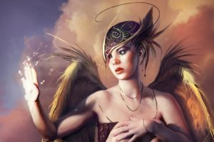 art,  , Fantasy, Girl, Wings, Disintegration