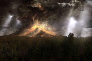 volcano, Mountain, Lava, Nature, Landscape, Mountains, Fire, Artwork