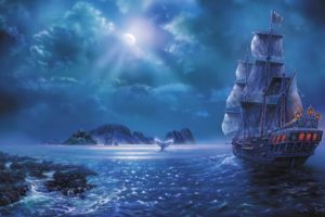 fantasy, Ship, Boat, Art, Artwork, Ocean, Sea