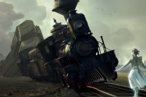 art, Train, Railroad, Girl, Wings, Crash, Fantasy, Fairy, Angel, Locomotive