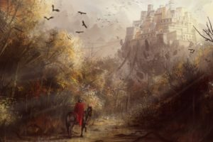 castle, Drawing, Knight, Medieval, Trees, Birds