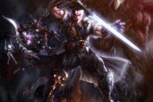 warrior, Angel, Demon, Crystal, Armor, Sword, Fire, Warriors