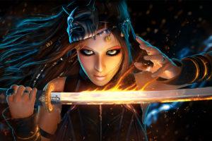 closeup, Glance, Sabre, Face, Fantasy, Girls, Warrior, Magic, Katana, Girl