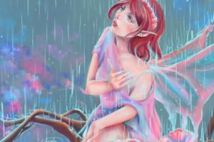 rain, Painting, Art, Redhead, Girl, Fantasy, Girl, Fairy, Mood, Bokeh