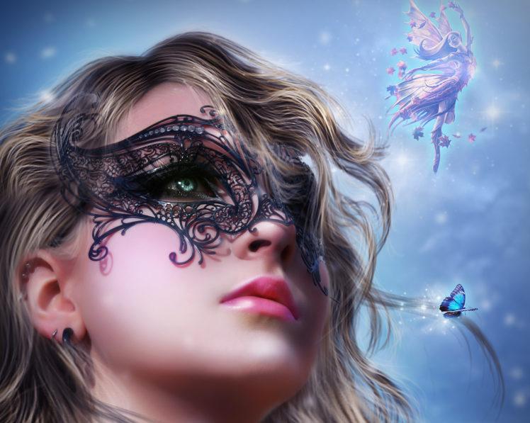 masks, Fairies, Face, Glance, Girls, Fairy, Gothic, Bokeh HD Wallpaper Desktop Background
