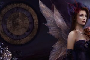 time, Clock, Watch, Mood, Dark, Fantasy, Art, Fairy, Wings, Mask, Gothic, Women, Redheads, Females, Girls, Face, Eyes, Pov, Flowers