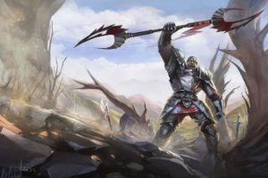 warrior, Fantasy, Art, Armor, Blood, Weapons, Sword, Landscapes