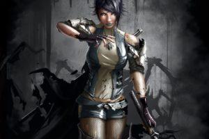 dark, Women, Fantasy, Art, Warriors, Blood, Weapons, Swords, Katana, Women, Females, Girls