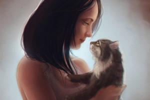 felines, Cats, Women, Females, Girls, Brunettes, Mood, Love, Face
