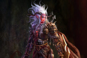women, Paintings, Assassin, Horns, Fantasy, Art, Artwork, Drawings, White, Hair, Demon, Warrior, Girl, Women, Females