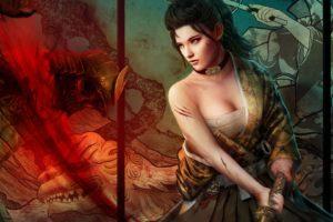 fantasy, Art, Women, Females, Girls, Warrior, Weapons, Blood, Warrior, Dragons