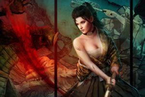 warriors, Fantasy, Girls, Weapons, Sword, Katana, Cleavge, Women, Females, Brunettes