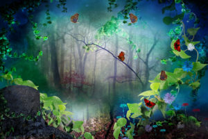 digital, Art, 3d, Phantasmagoria, Forest, Trees, Butterfly