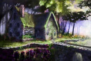 art, House, Bridge, Landscape, Flowers, Buildings, Flowers, Painting, Fantasy