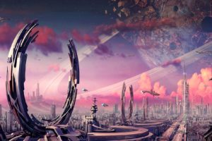 futuristic, Planets, Fantasy, Art, Spaceships, Science, Fiction, Artwork, Airship, Cities