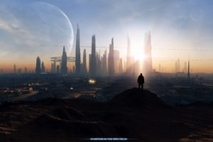 outer, Space, Cityscapes, Futuristic, Moon, Spectrum, Science, Fiction, Vessel, Darink