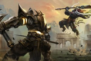 battles, Warriors, Armor, Jump, Scythe, Warrior, Battle