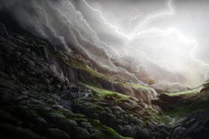 art, Lightning, Glen, Stones, Slope, Waterfall, Rain, Storm, Clouds, Landscape