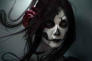 gothic, Face, Brunette, Girl, Hair, Fantasy, Girl, Fantasy, Skull, Death