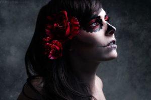 brunettes, Women, Skulls, Flowers, Roses, Sugar, Skulls
