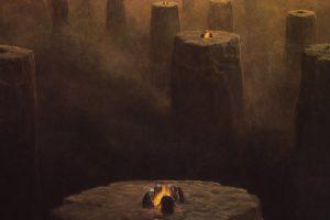 horror, Dust, Skeletons, Artwork, Pillars, Campfire, Zdzislaw, Beksinski, Surreal, Art