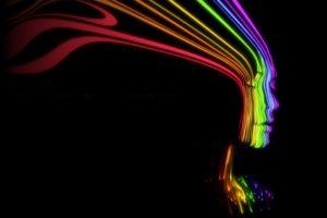 abstracto, Mujer, Colores, Dark
