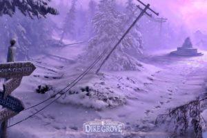 dire, Grove, Fantasy, Adventure, Puzzle, Exploration, Dark, Perfect, Magic, Rpg, Online, Crime, Mystery, Poster