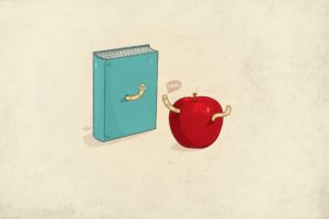 minimalistic, Nerd, Funny, Books, Apples, Simple, Background, Worms