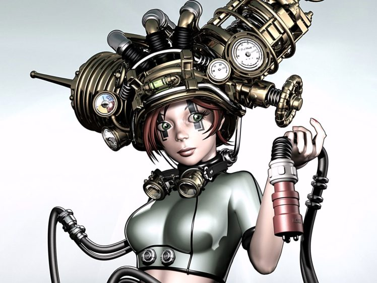 steampunk, Mechanical, Cycborgs, Robots, Women, Females, Girls, Babes, Face, Eyes HD Wallpaper Desktop Background