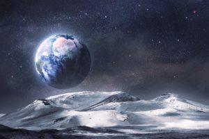 alien, Landscape, Planet, Stars, Earth, Moon