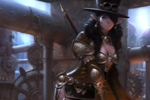 art, Choi, Keun, Hoon, Girl, Elf, Steampunk, Steampunk, Hat, Glasses, Pipes, Metal, Armor