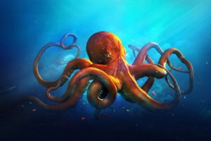 underwater, World, Animals, Octopus, Ocean, Sea, Fantasy, Artwork, Art