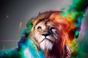 lion, Cg, Digital, Art, Fantasy, Psychedelic, Face, Eyes, Color, Manip