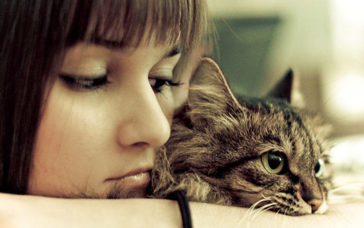 brunettes, Women, Cats, Retro HD Wallpaper Desktop Background