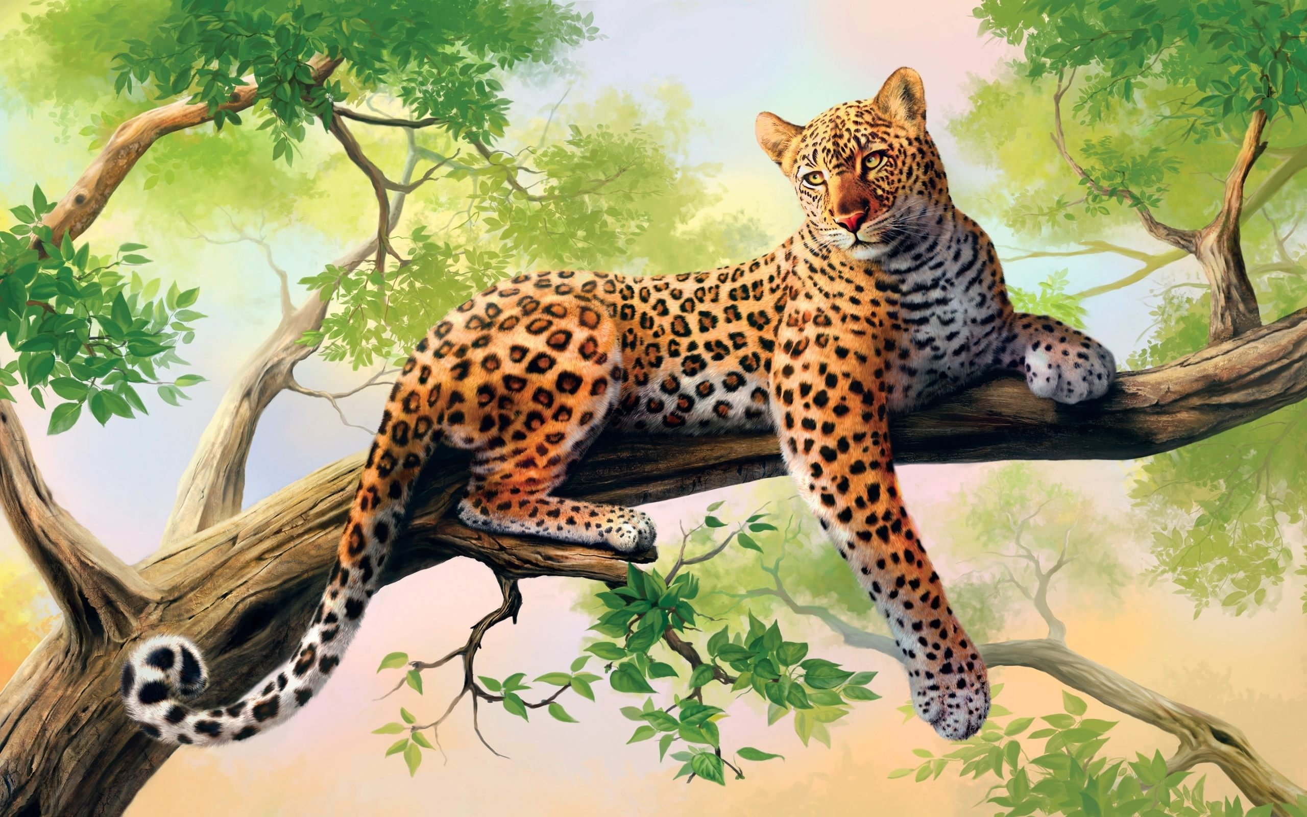 leopard, Painting, Art, Animal, Beauty Wallpaper