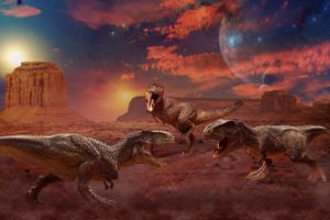 ancient, Animals, Dinosaur, Painting, Art, Three