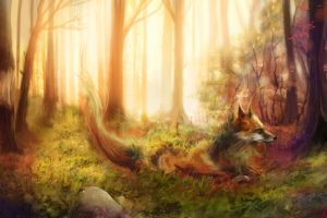 foxes, Painting, Art, Forest, Animals, Fox