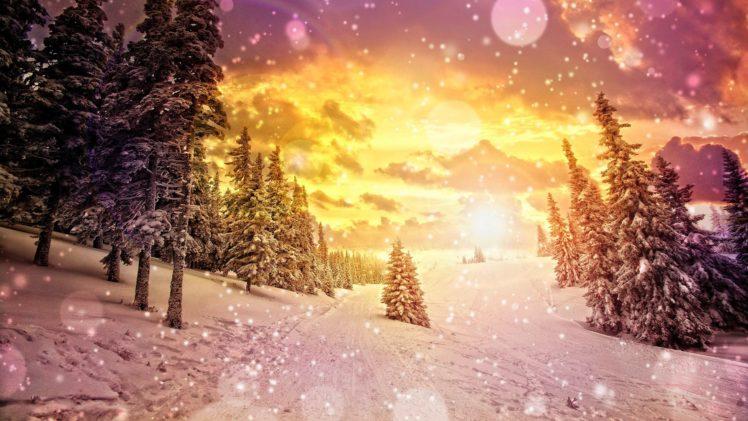art, Artistic, Cg, Digital, Nature, Landscapes, Mountains, Winter, Snow, Snowing, Flakes, Drops, Sparkle, Sky, Clouds, Sunset, Sunrise, Seasons HD Wallpaper Desktop Background
